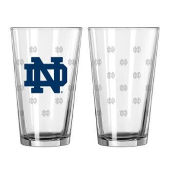 Satin Etch Pint Glass - Notre Dame Fighting Irish NCAA Satin Etch Pint Glass Set