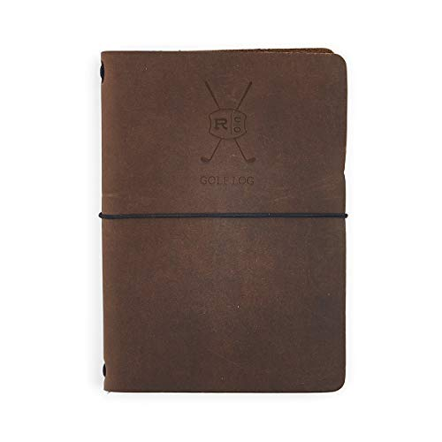 Rustico Leather Golf Log Book, Handmade in The USA, Easily Refillable, Perfect for Birthdays and Anniversaries, Natural Top Grain, Great Gift for Dad or -