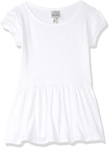 Clementine Girls Infant Baby Rib Tee Dress, White, 6MOS
