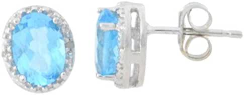2 Ct Simulated Blue Topaz & Diamond Oval Stud Earrings .925 Sterling Silver