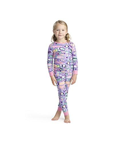 (Hatley Girls' Little Organic Cotton Long Sleeve Printed Pajama Sets, Kitty Candy, 2 Years )