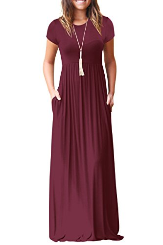 Rbwinner Womens Short Sleeve Maxi Dress With Pockets Plain Loose Swing Casual Floor Length Long Dresses Wine Red Large