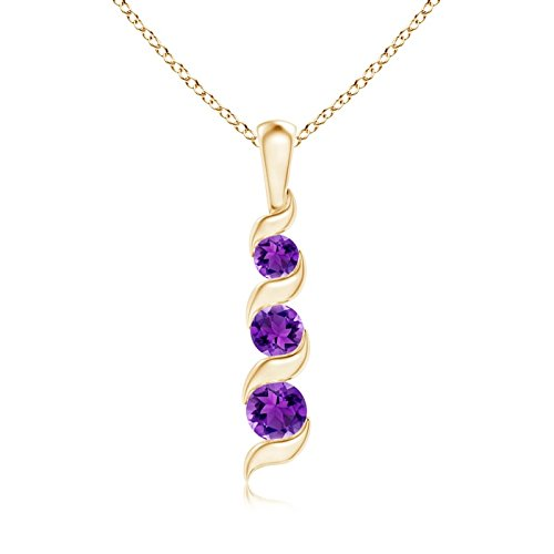 (Channel-Set Round Amethyst Three Stone Journey Pendant in 14K Yellow Gold (4mm Amethyst))