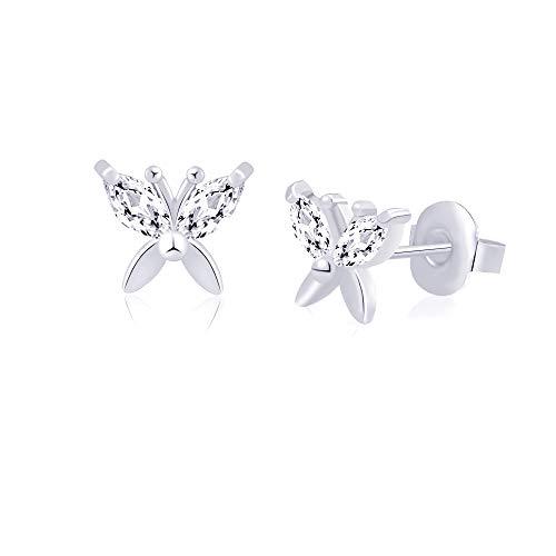 Hypoallergenic silver butterfly stud earrings for women Teens 316L Stainless Steel for Sensitive Ears Nickel Free Jewelry Cute Gift