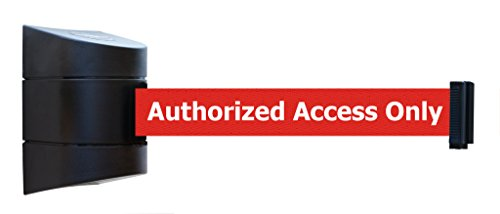 """Tensabarrier 897-15-S-33-NO-RAX-C Standard Wall Mount, Black Caps, No Custom Red Webbing/White""""Authorized Access Only"""" Standard Belt End, 15"""