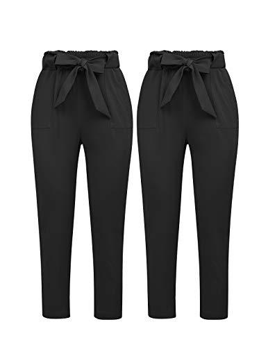 GRACE KARIN Women's Pants Casual Cropped High Waist Pants 2pcs XL Black and Black ()