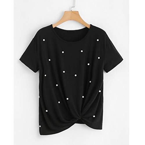 Y Cuello Camisetas 2019 De Mujer Camiseta Moda Top Perlas Originales Slyar Con Verano Corta Nuevo Ocio Negro Bonitas Redondo Manga S8Awxv1Fq