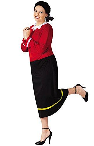 FunWorld Women's Olive Oyl Costume - Plus Size 1X/2X - Dress Size 16-20 - Olive Oyl Fancy Dress