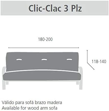 Eysa Aquiles Copridivano Elastico Clic Clac 3 Posti Grigio Poliestere-Cotone 37x29x9 cm