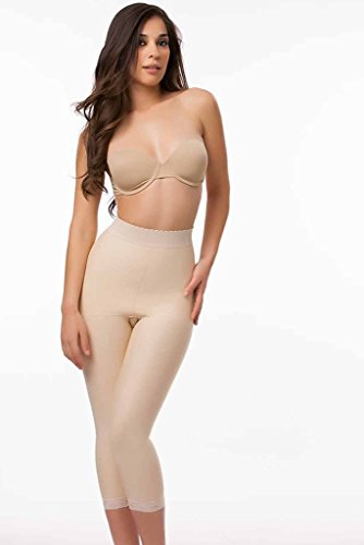 Isavela Womens 2nd Stage High Waist Abdominal Girdle Below Knee Length With NO Zippers  LG Beige (Girdle Panty Zipper)