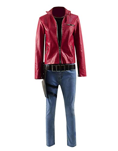 Xiao Maomi Alice Cosplay Costume Cool Red Leather Jacket Pants Jeans Full Set for Cosplay Events Party Halloween (US Women-M, Full -