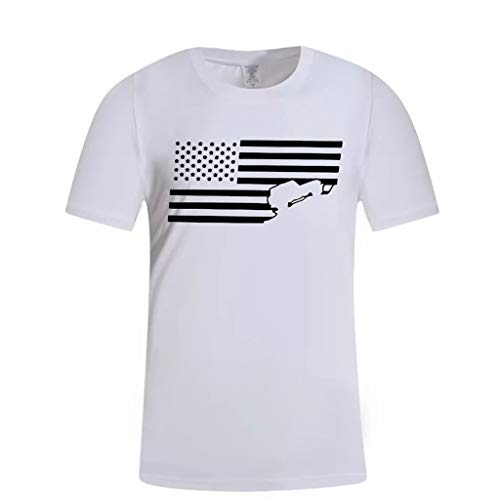 YOCheerful Men's Tops Summer Print Shirts Round Neck Slim Fit Short Sleeve Top Independence Day Blouse(White, XL)