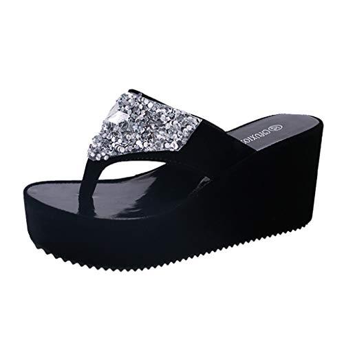 Duseedik Summer Slippers for Women's, Rhinestone Wedges Flip Flops Ladies Fashion Clip Toe Beach Shoe