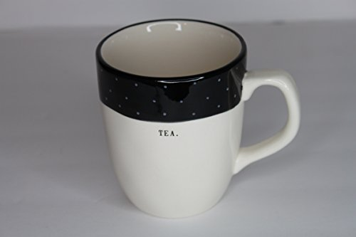 Rae Dunn Magenta Ceramic Mug Typewriter Tea. - Cream & Black Polka ()