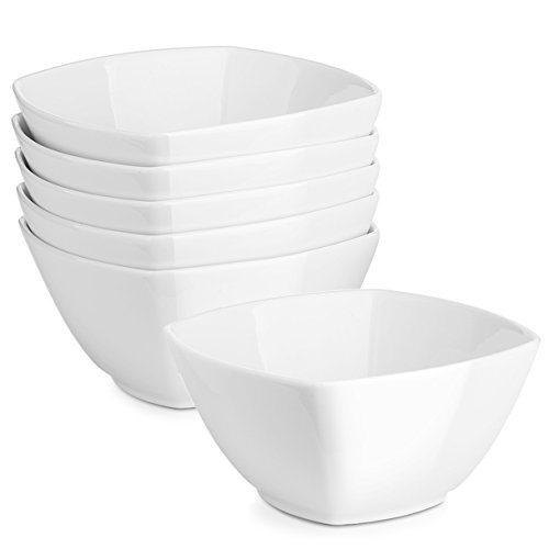 DOWAN 27 Ounces Porcelain Square Cereal Bowls, Set of 6, White