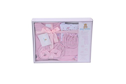 Big Oshi Layette Baby Gift Set, 5 Piece -Boxed, Complete With A Gift Tag And Pretty Bow - Perfect Baby Shower Gift - Pastel Pink