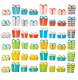 24pk Birthday Presents 1'' - 1 3/8'' Edible Sugar Decoration Toppers for Cakes Cupcakes Cake Pops w. Edible Sparkle Flakes & Decorating Stickers