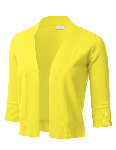 FLORIA Womens Classic 3/4 Sleeve Open Front Cropped Cardigan (XS-L)