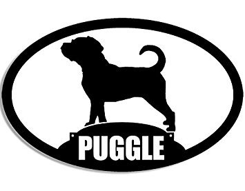 MAGNET Oval PUGGLE Silhouette Magnet(dog pug beagle mix breed) Size: 3 x 5 inch ()