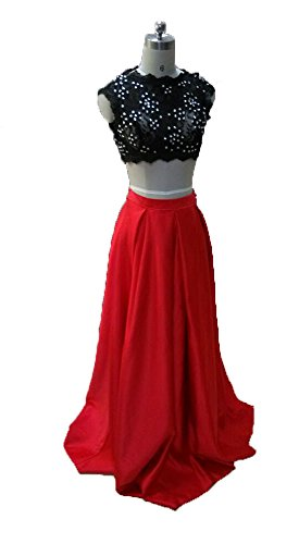 Fanmu Womens Beading Two Pieces Prom Dresses Formal Evening Gowns Size 6 UK Red