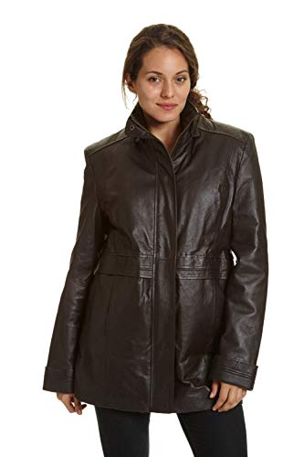 (Excelled Women's Leather Multi Pocket Anorak, Brown X-Large)