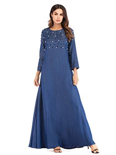 YLCRMBJ Robes d'automne des Perles Robes en Denim Moyen-Orient Arabe Grande Robe Pendule
