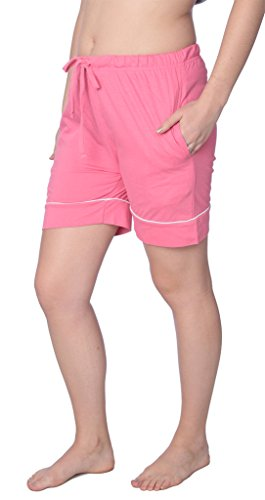 Beverly Rock Women's Short Jersey Knit Pajama Lounge Pant Available in Plus Size WJL01_18 Pink 2X