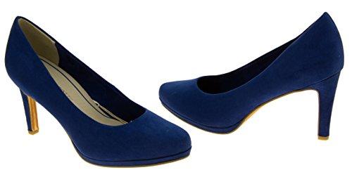 Mujer Marco Tozzi apatos de imitación de ante de tacón alto ante Azul