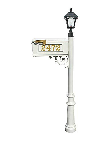 Mailbox w/Post Fluted Base & Solar Lamp, with Vinyl Numbers, White ()