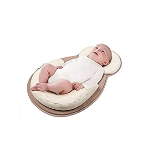 Premium Newborn Lounger Anti-Rollover Baby Positioning Pillow Portable Cotton Breathable Baby Bed Mattress Flat Head Prevention (Beige)