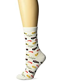 Hot Sox Women's Sushi Crew Socks, White, 4-10.5 Large