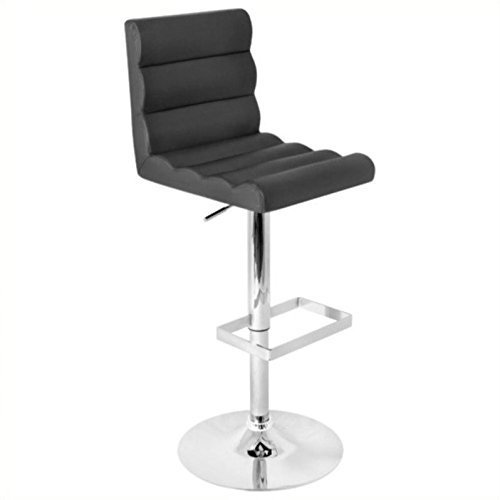 LumiSource Autoo Bar Stool With Seat Height 24 – 32 , Black, 18.25 x 17.75 x 36.75 – 44.75