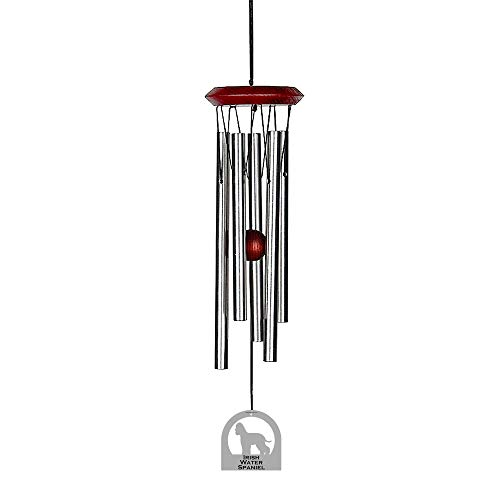 Chimes of Your Life 638845877459 Irish Water Spaniel E4500-14 Dog Wind Chime, Silver