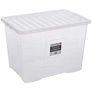 3 pieces, WHAM crystal storage box with lid, 80 litres, transparent
