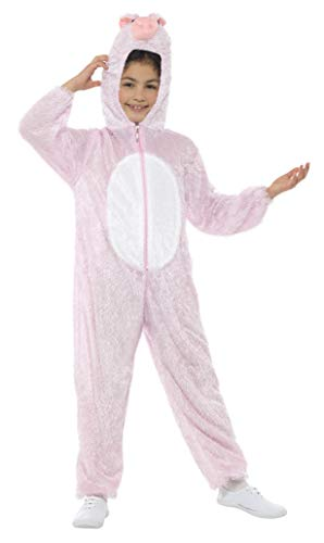 Smiffys Children's Unisex All In One Pig Costume, Jumpsuit with Hood, Party Animals, Ages 7-9, Color: Pink, 30784]()