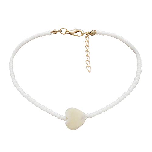 Rubyyouhe8 Necklace &Fashion Women Heart Charm Beaded Choker Necklace Party Jewelry Birthday Gift Personality Short Paragraph Minority Female Original Scallop Heart-Shaped New Bead Necklace White