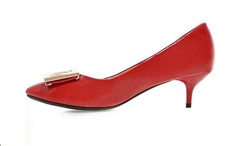 xie Point Toe Square Buckle Chaussures de courtoisie Peau de Peinture Bas pour Aider Les Chaussures pour Femmes, Red, 37