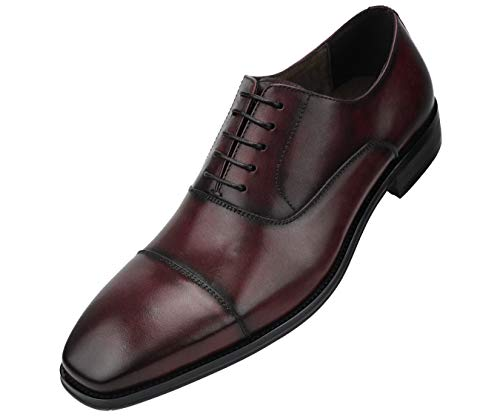 Shoes Oxfords Burgundy (Asher Green Mens Genuine Waxy Calf Leather Lace up Cap Toe Oxford Dress Shoe Dark-Burgundy)