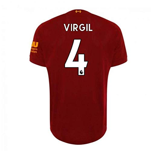 #4_Virgil_Van_Dijk_Liverpool 2019-2020 Home Football Soccer T-Shirt Jersey-Mens (XL) Red