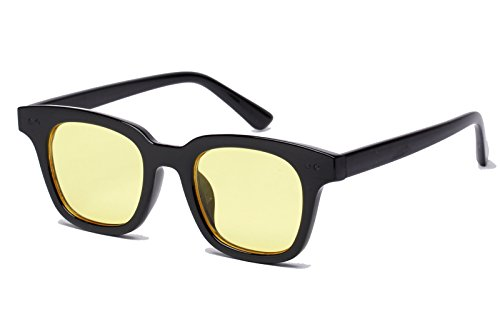 Bestum Inspired Square Sunglasses With Rivets Tinted Lens UV400 (Black, - Light Tint Sunglasses