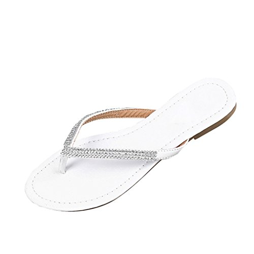 Dear Time Flip Flop Bling Rhinestones Summer Women Flat Thong Sandals White US ()