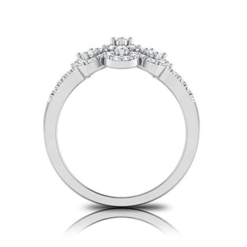 18K Or Blanc, 0.74carat Diamant Taille ronde (IJ | SI) en diamant