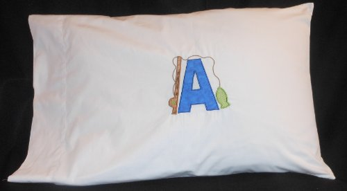 Kontrast Kids Appliqued, Personalized Standard Size Pillowcase for Kid/Child/Toddler/Infant - Made to Order with Initial - Fishing Rod & (Appliqued Fish)