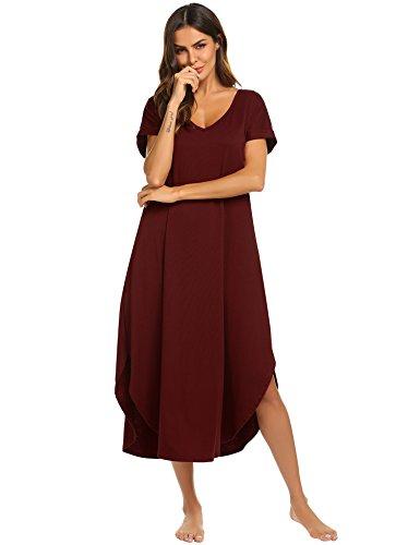 Ekouaer Plus Size Nightshirt Women's Short Sleeve Sleep Gown Soft Long Nighty Dress (Wine Red,XXL) by Ekouaer (Image #3)