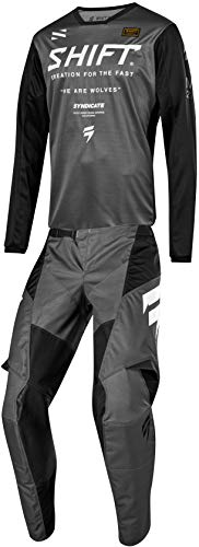 Shift MX 2019 White Label Muse Motocross Off-Road Dirt Bike Riding Gear Combo (Mens Smoke Grey & Black Jersey Large/34W Pant) ()