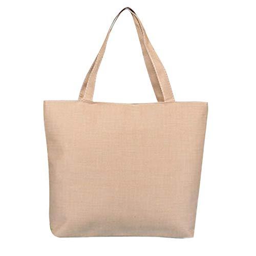 Scrox 1pcs Bolsas de Tela Cremallera Tote Bag Original Color sólido Bandolera Mujer Bolsa Reutilizable Compra Bolsa de Almacenamiento (Khaki)