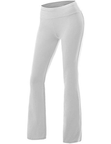 White Yoga Pants (NINEXIS Women's Active Workout Bootleg Yoga Running Pants WHITE)