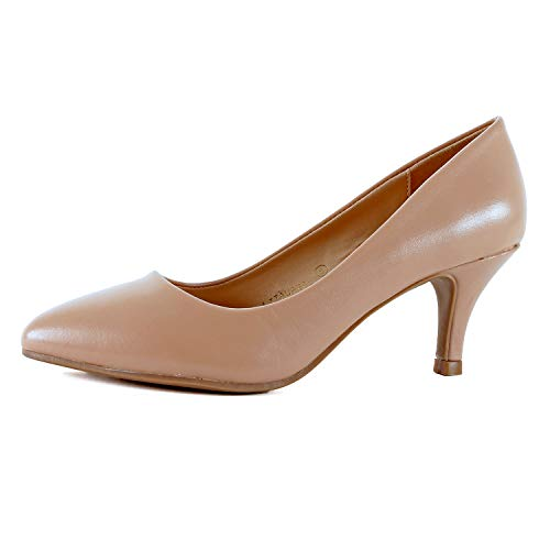 - Guilty Heart | Womens Classic Pointy Toe Low Kitten Heel | Office Dress Slip On Fashion Pump | 22 Colors (10 M US, Lt Taupe Pu)