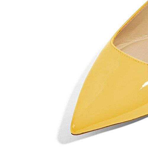 Xyd Donna Casual Scarpe A Punta Svasata Slip On Balletto In Pelle Verniciata Che Guida Scarpe Da Sera Fannullone Giallo