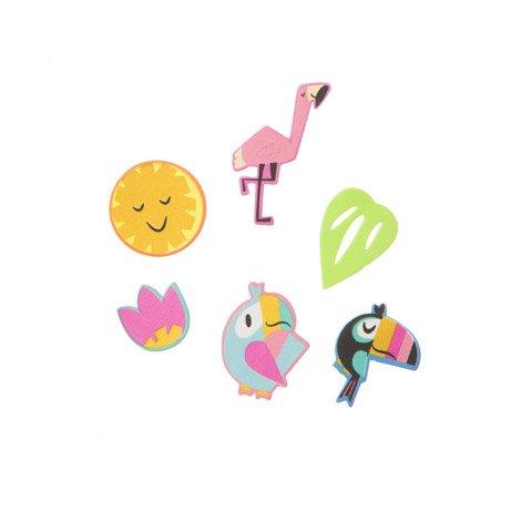 Darice 72 Tropical Characters Peel Off Foam Stickers~Arts & Crafts~Scrap booking~School~Luau/Beach Themed Stickers ()